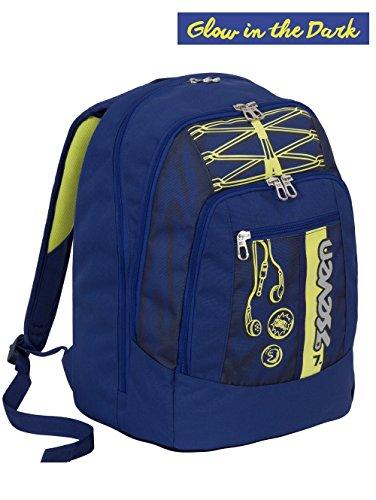 Zaino scuola advanced seven - colorful boy - blu giallo - serigrafia fotoluminescente - 30 lt - inserti rifrangenti