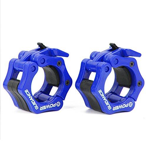 POWER GUIDANCE - Gewichtheben Barbell Clamp Kragen - Schnellwechsel-Paar Locking 50mm Olympic Bar - Ideal f¨¹r Cross-Fitness-Training - Lebenslange Garantie (Blau)