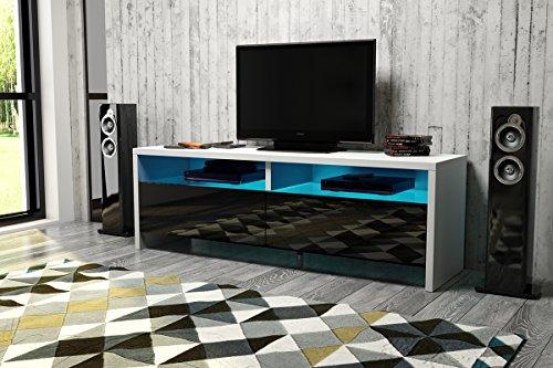 Dione – TV-Lowboard / TV-Bank / Fernsehschrank (100 cm, Weiß Matt / Schwarz Hochglanz)