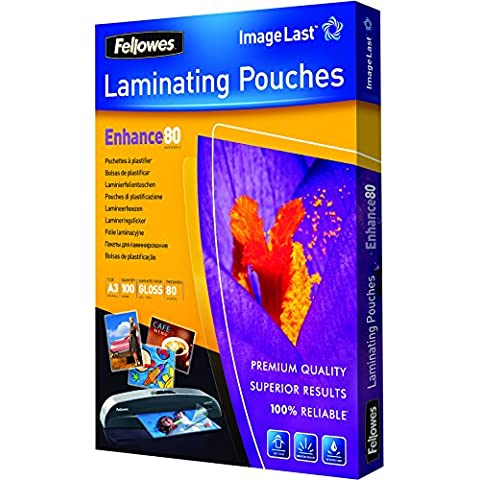 Fellowes ImageLast - Pack 100 fundas de plastificar, formato A3, 80 micras