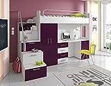 Furnistad | Hochbett für Kinder Sky | Kinderhochbett mit Treppe, Schreibtisch und Schrank (Option links, Weiß + Violett)