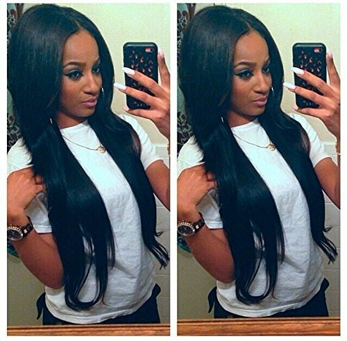 Sunwell 7A Virgin Brazilian Straight Lace Front Wigs Human Hair Middle Part 130 Density Natural Colour 22inch