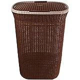 Cello Creta Plastic Laundry Basket with Lid, Brown