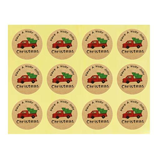 Amosfun 10 Stück Sealing Sticker Selbstklebende LKW Muster Weihnachten Runde Wrapping Aufkleber Versiegelung Paster Verpackung Etikett für Umschläge Verpackung Geschenk