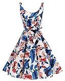 bbonlinedress 1950er Vintage Polka Dots Pinup Retro Rockabilly Kleid Cocktailkleider Royalblue Flower 3XL
