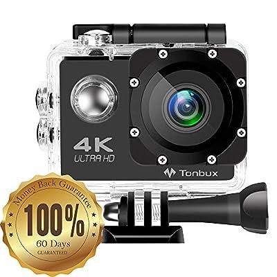 4K Action Kamera Tonbux Helmkamera 2,0 Zoll Action Cam Sport Wifi wasserdicht 170 ° Weitwinkel /2 Akkus/Zubehör Kit für zum Tauchen, zum Fahrrad fahren, zum Motorrad fahren und zum Schwimmen
