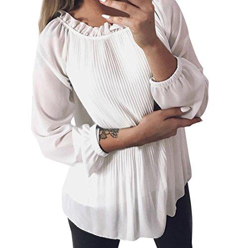 Chiffon Rüsche Shirt (Tops Damen,Sannysis Damen Chiffon Rüschen Langarm O-Ausschnitt Shirt Pullover Tops Bluse Sweatshirt Pullover (Weiß, S))