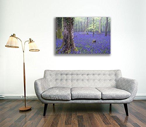 Canvas Culture - Bluebell Woodland Landscape Canvas Art Print Box Framed Picture 38 Original 90 x 60cm