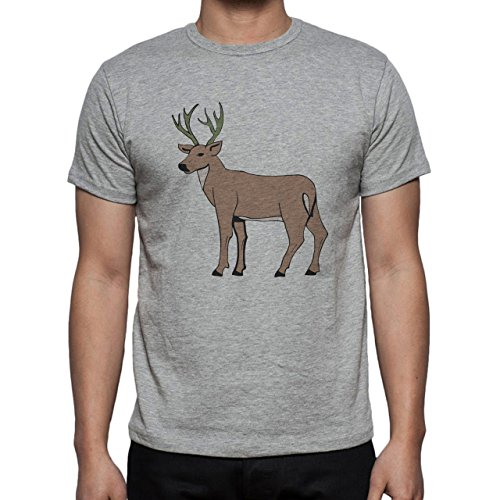 Deer Animal Wood Creature Horns Brown Cartoon Male Herren T-Shirt Grau