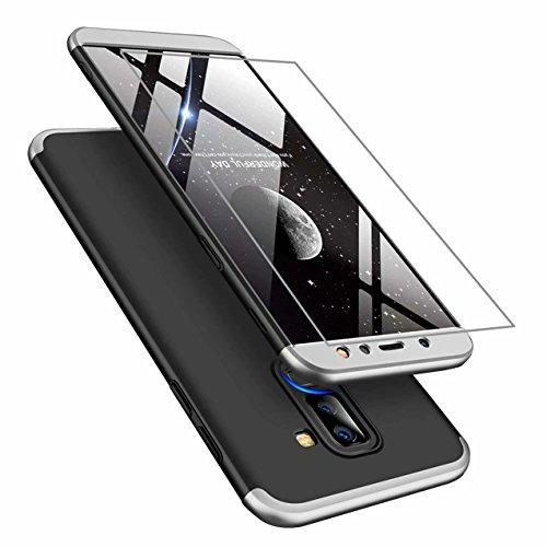 AILZH Samsung A6 Plus 2018 Hülle 360 Grad Schutzhülle PC Hartschale Anti-Schock HandyHülle Anti-Kratz Stoßfänger 360° Full-Cover Case Matte Schutzkasten+Gehärteter Glasfilm(Silber schwarz)