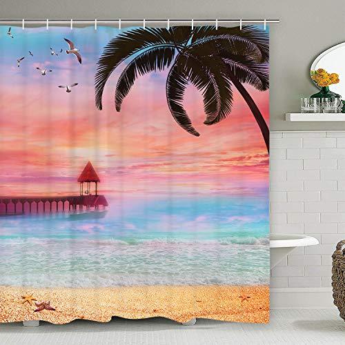 Ocean Scenery Duschvorhang mit 12 Haken, Strand Duschvorhang Palmen Baum Sonnenuntergang Duschvorhang Wasserdicht Badezimmer Duschvorhang 70