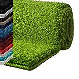 casa pura Badematte Hochflor Sky Soft   Weicher, Flauschiger Badezimmerteppich in Shaggy-Optik   Badvorleger rutschfest waschbar   schadstoffgeprüft   16 Farben in 6 Größen (60x50 cm, Limone)