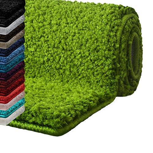 Casa pura tappeto bagno antiscivolo - tappeti per bagno assorbenti, shaggy | spessore alto e morbido in 16 tonalità tinta unita e varie misure - 70x120 cm - verde