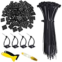 Hipeqia Attaches de Câble, 200 Pièces Zip Tie Nylon Autobloquantes (150mm x 2,5mm) et 100 Pièces Base de Serre-câble de…