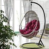 Giardino Patio Rattan Altalena Pastiglie Poltrona Pensile, Appeso Cuscino Uovo for 90x120cm Outdoor Indoor ~Nessuna Sedia (Colore : Red)