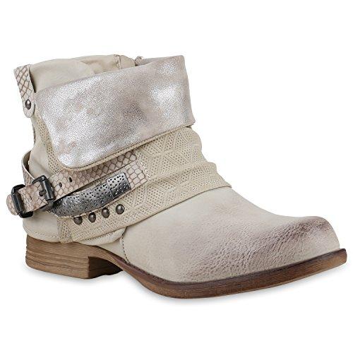 Damen Glitzer Stiefeletten Bequeme Nieten Biker Boots Creme Silber