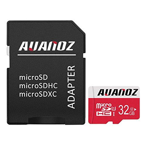 Micro sd card 32 gb auanoz micro sdhc classe 10 scheda di memoria ad alta velocità uhs-i per telefoni, tablet e pc - con adattatore (rosso-32gb)