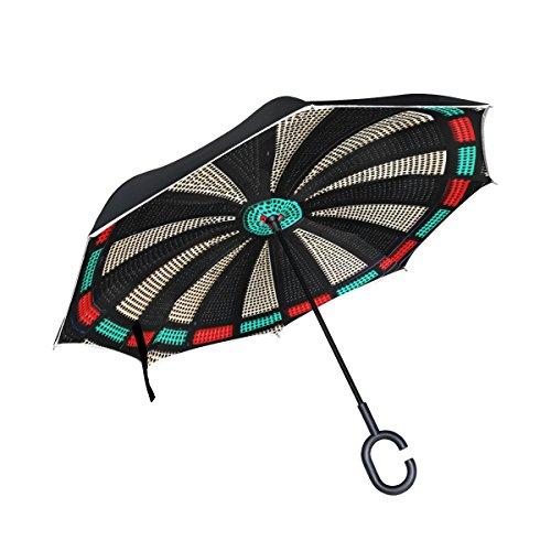 XiangHeFu Double Layer seitenverkehrt Rückseite Regenschirme Vintage Spiel Darts Board Rad Totenkopf Faltbar Winddicht UV-Schutz Big Gerade für Auto mit C-Förmigem Henkel (Board Cover Dart)
