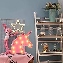 Unicorn Head Light,Unicorn Lamps for Girls Bedroom,Unicorn Night Light Battery Powered for Kids Party Lights Decorations Birthday,Christmas,Room Decor Unicorn Wall Light(Unicorn Head Rose)