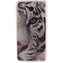 KATUMO® Funda para Meizu M2 Note, Carcasa Silicona Protectora Cubierta para Meizu M2 Note Transparent Gel Case Bumper Cover[Bonita y Resistente]-Tigre