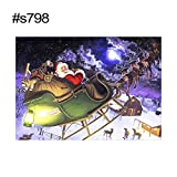 Goodtimes28 Kreuzstichdekoration, Motiv Weihnachtsmann mit Elch, rund, 40 x 30 cm, s798