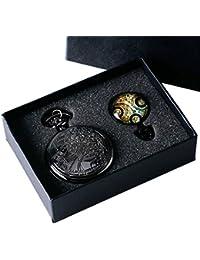 Reloj de bolsillo de Yisuya, con cadena, para hombre, diseño de estilo retro de Doctor Who, color negro, en caja de regalo