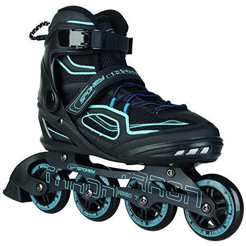 Spokey Kinder und Erwachsene Inline Skates mit verschleißfesten Rädern und widerstandfähigen Bremsklötzen, Taron - Blau, 41