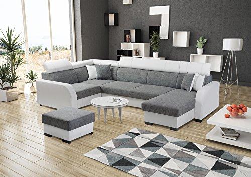 große Ecksofa Sofa Eckcouch Couch mit Schlaffunktion und zwei Bettkasten Ottomane U-Form Schlafsofa Bettsofa – COBBY U