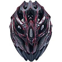 BroLoyalty Casco para bicicleta de montaña, adulto, mv27, tamaño grande 58–61cm para hombres y mujeres, negro y rojo