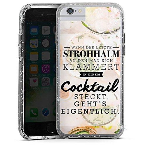 Apple iPhone X Bumper Hülle Bumper Case Glitzer Hülle Spruch Visual Statements Cocktail Bumper Case Glitzer silber