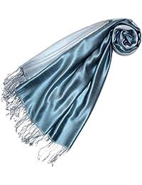 LORENZO CANA Luxus Pashmina Seide Schaltuch 70 x 190 cm Silbergrau Stahlblau zweifarbig Seidenschal Schal 78168