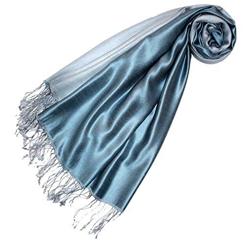 Preisvergleich Produktbild LORENZO CANA Luxus Pashmina Seide Schaltuch 70 x 190 cm Silbergrau Stahlblau zweifarbig Seidenschal Schal 78168