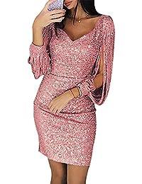63375ff05ece24 Hoverwin Glänzend Partykleid Damen Elegante Abendkleider Festliches Kleid  Fransen Langarm V-Ausschnitt Sexy Cocktailkleid Hochzeit