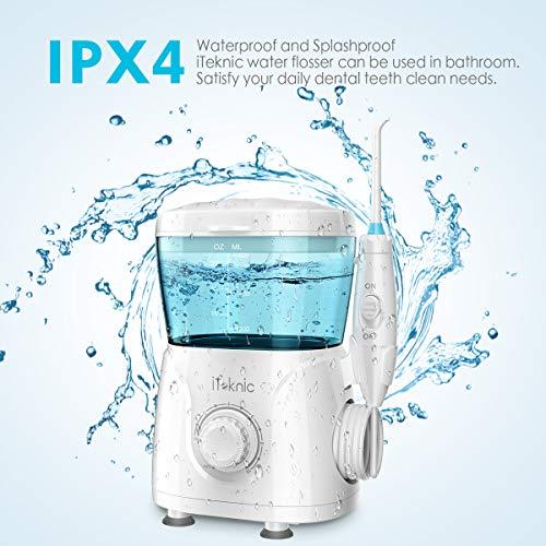 Elektrische Munddusche Interdentalreiniger, iTeknic Oral Irrigator Zahnpflege Düsenreinigung mit 10 Druckeinstellungen 600ml Wassertank 7 verschiedene Funktionsdüsen Ideal für
