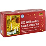 Idena - Candele a LED senza fili per albero di Natale bianco caldo, altezza candele 12 cm