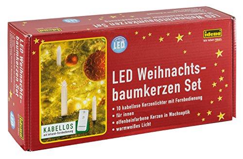 Idena LED Weihnachtsbaumkerzen Set mit 10 kabellosen Kerzen inklusive Infrarot Fernbedienung, warmweißes Licht, 31102
