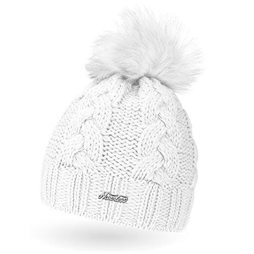 Damen Wintermützen Extra Warme Mütze mit innen Fleece Band Bommelmütze