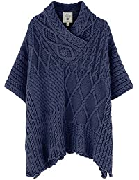 Aran Traditions Navy Blue Cable Shawl Neck Cape