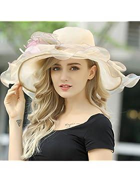 HONEY Sombrero De Playa  Sombrero De Visera De Mujer Verano Anti-UV Pasar Las Vacaciones Playa Borde Grande (...