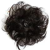 PRETTYSHOP 100% Echthaar Humanhair Haargummi Haarteil hairpiece Haarverdichtung Zopf Haarband Haarschmuck div. Farben (schwarzbraun #2)