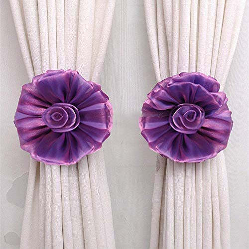 Bobopai 1Pcs Flower Curtain Clip-on Tie Backs Curtain Holdback Tieback Holder for Voile Net Curtain Panels (Purple) -