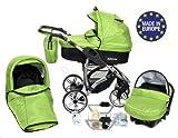 Allivio - 3 in 1 Reisesystem einschließlich Kinderwagen mit schwenkbaren Rädern, Kinderautositz, Buggy und Zubehör, Schwarz und Grün