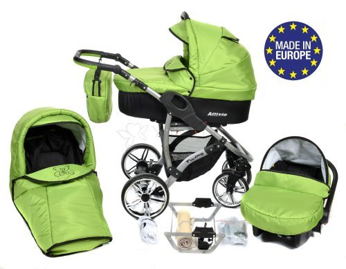 ALLIVIO, 3-in-1 Travel System with Baby Pram, Car Seat, Pushchair & Accessories (3in1 Travel System -Baby tub, Sport seat, Car seat, Black & Green) 51IIS 2BjExEL