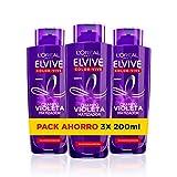 L'Oréal Paris Elvive Color Vive Shampoo Viola Matizzatore per Capelli con Stoppini, Biondo, Scolorito o Grigio - Confezione da 3 x 200 ml - Totale 600 ml
