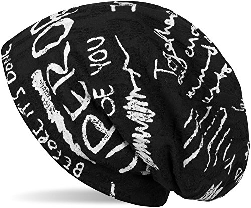 styleBREAKER Beanie Mütze mit Schrift Muster im Destroyed Vintage Design, Slouch Longbeanie, Unisex 04024074, Farbe:Schwarz