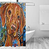 COOSUN Malerei Hundedruck Duschvorhang, Polyester-Gewebe Duschvorhang, 66 x 72-inch 66x72 Mehrfarbig