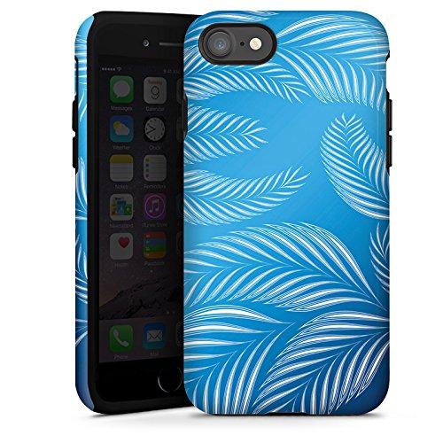 Apple iPhone X Silikon Hülle Case Schutzhülle Palmen Blätter Blau Tough Case glänzend