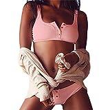 Bikinioberteil Damen Triangel,Jaminy Frauen Push-Up Gepolsterter BH Strand Bikini Set Badeanzug Bademode (L)