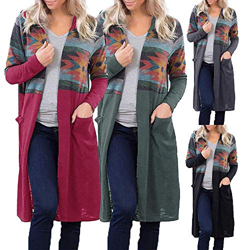 Patchwork,Loose,Taschen,Soft,Hooded,Easy-Matching Freizeit Patchwork Long Sleeves Pockets Hooded Loose Women Cardigan Coat Jacket-Army Green L