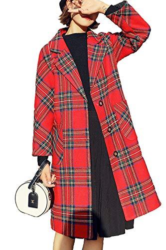 Las Mujeres De Manga Larga A Cuadros De Lana Invierno Casual Outwear Abrigos Tres Cuartos Rojo XL